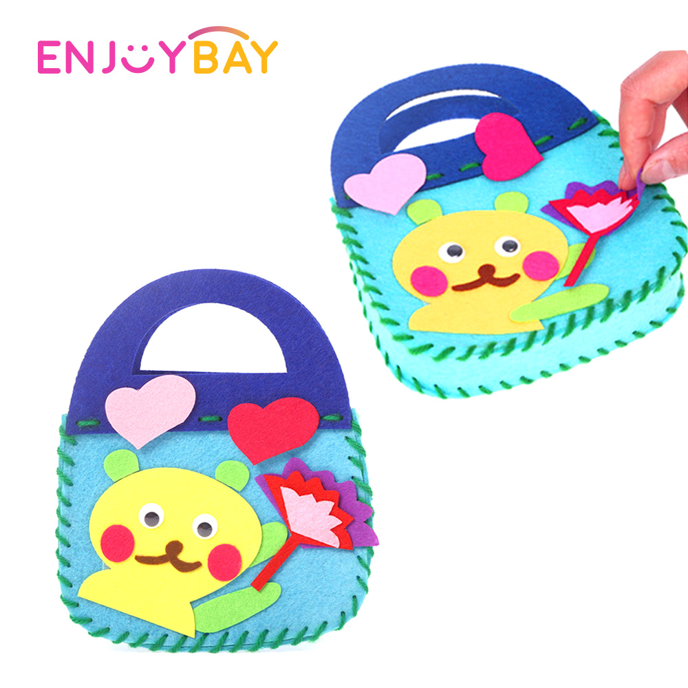 Enjoybay Kindergarten Kids DIY Handmade Bag Toy Children Cartoon Non-woven Felt Fabrics Arts And Crafts Educational Kids Toys