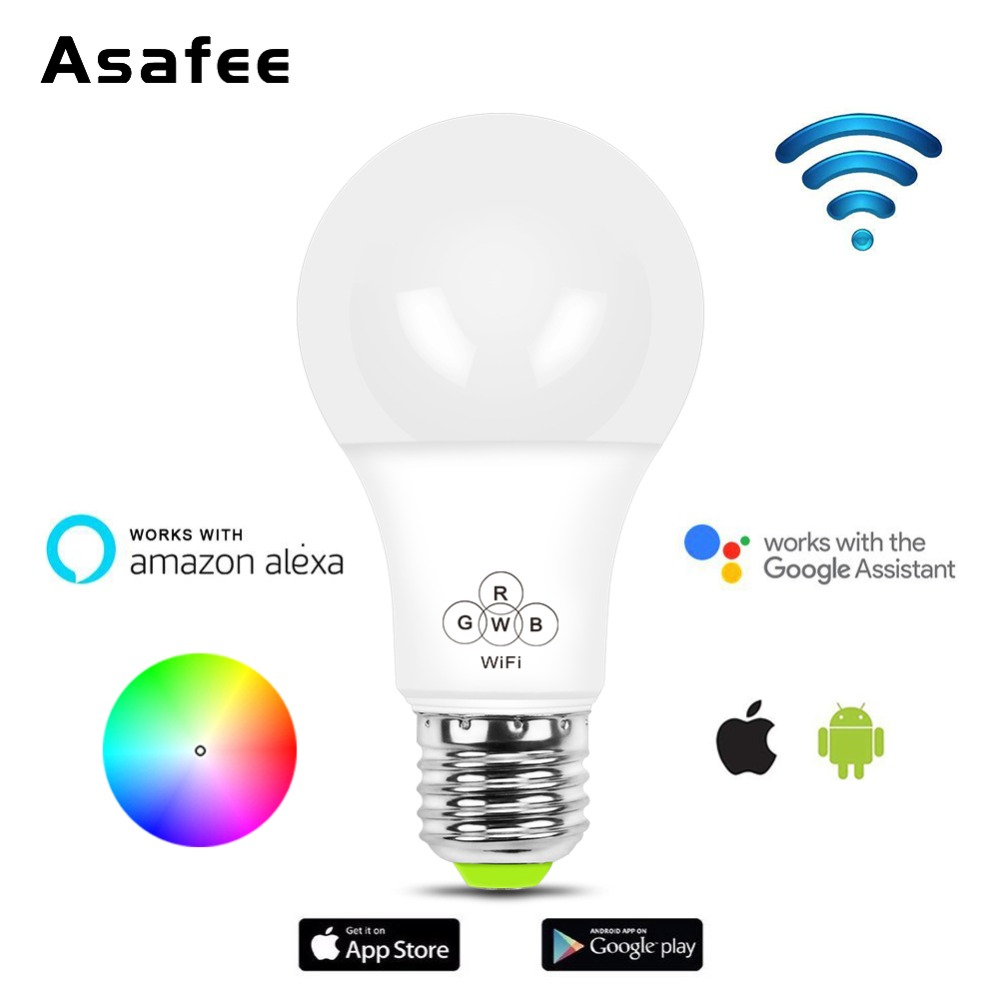 Smart Bulb WIFI Dimmable Smart Light LED Bulb 4.5W 7W E27 RGB Color Amazon Alexa Google Home IOS/Android Remote Control LED Lamp
