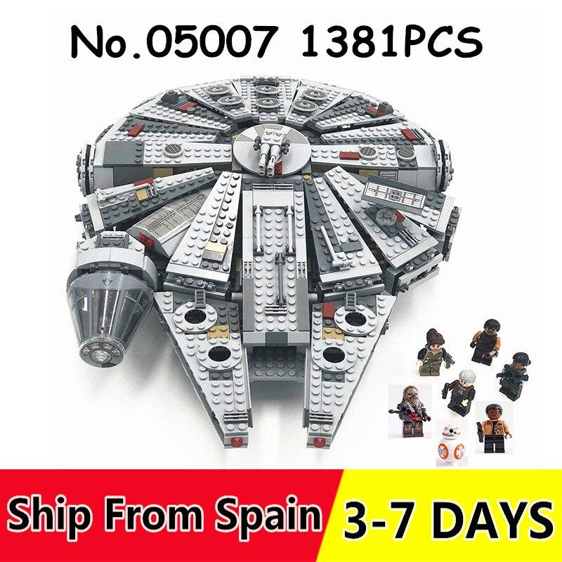 05007 1381 pièces blocs de construction Force éveille Star millénium Wars Falcon briques jouets pour enfants Compatible 75105 79211-in Blocs from Jeux et loisirs    1