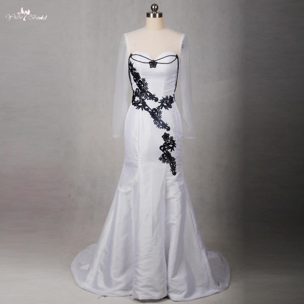 RSE792 Lace Mermaid Gothic Wedding Dress Wedding Gowns Black White ...