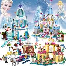 Girl Building Blocks Princess Elsa Ice Castle House Pumpkin Carriage Princess Undersea Palace LegoINGly Assembled Bricks Toy