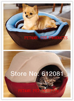Free shipping warm pet puppy dog yurt cat bed tent couch double sided plush two colors 1pc for sell