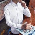 C912 Otoño Hombres Camisa de Algodón de Manga Larga Slim Fit Solid Camisa de Los Hombres Camisa de Manga Larga M-3XL Hommes