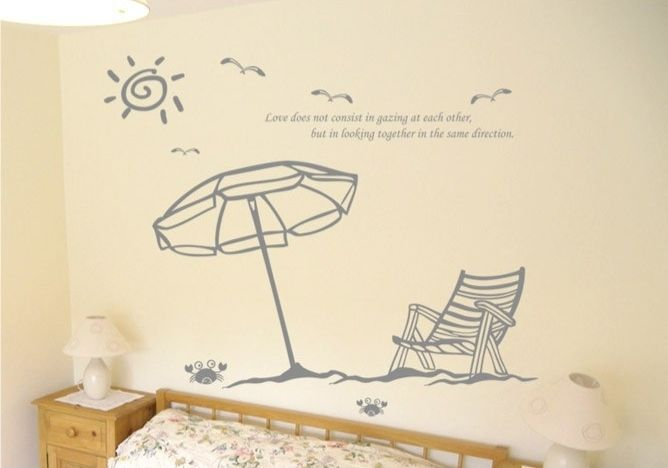 Online get cheap beach decor shop for Plage stickers muraux