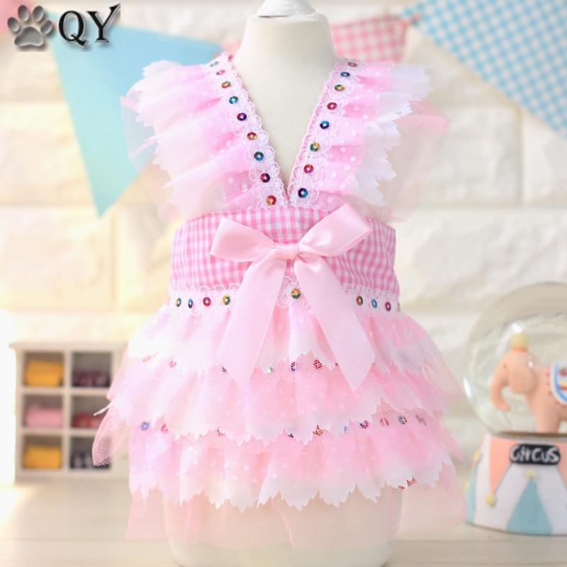 Lace Bow Grill paillette Princess Dog Dress Pet Products Pambuku - Produkte për kafshet shtëpiake