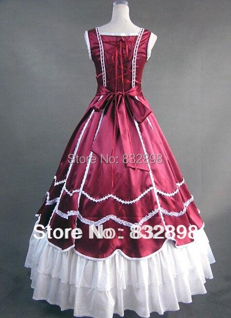De color Rojo oscuro y Blanco Balón vestido de Estilo Victoriano ...