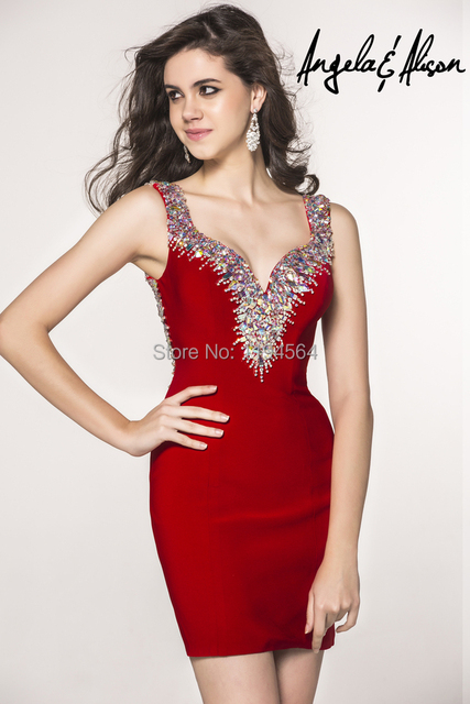 Stunning Beading Short Cocktail Dresses Sheath Satin Red Party Gowns Summer  Dress 2014 Sweetheart Free Shipping BS334 9e64b320dc4c