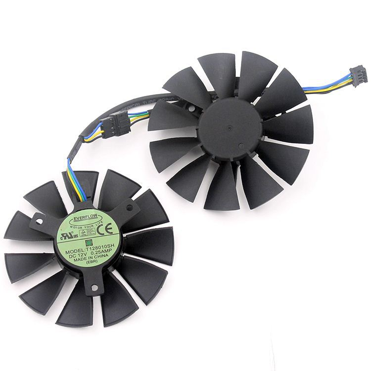 New Original graphics card fan for  STRIX GTX 960 750TI R9 285 FD7010H12S T128010SH new original 95mm pld10010s12hh 6pin graphics video card cooler fan for msi gtx 980 970 960 gaming dual fans twin cooling fan