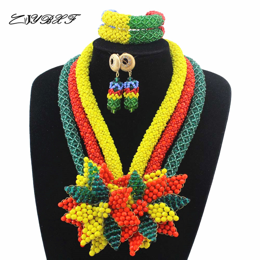 Shinny Colorful Flower Pendant Statement Necklace Set Colorful Bridal Beads Costume African Jewelry Set Free Shipping HD7668 statement colorful rhinestone ring