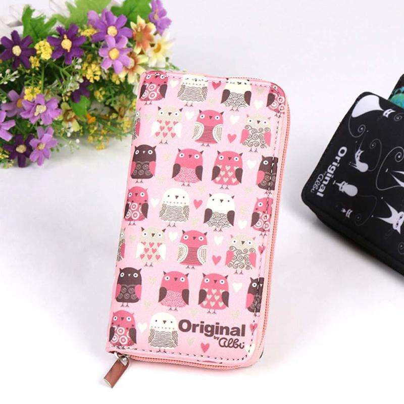 Fashion Pink Wallets Lovely Printing Women Wallet Ladies Clutch Change Coin Purse Card Holder Cute Zipper Long Wallet New Arrive new fashion women leather wallet deer head hasp clutch card holder purse zero wallet bag ladies casual long design wallets