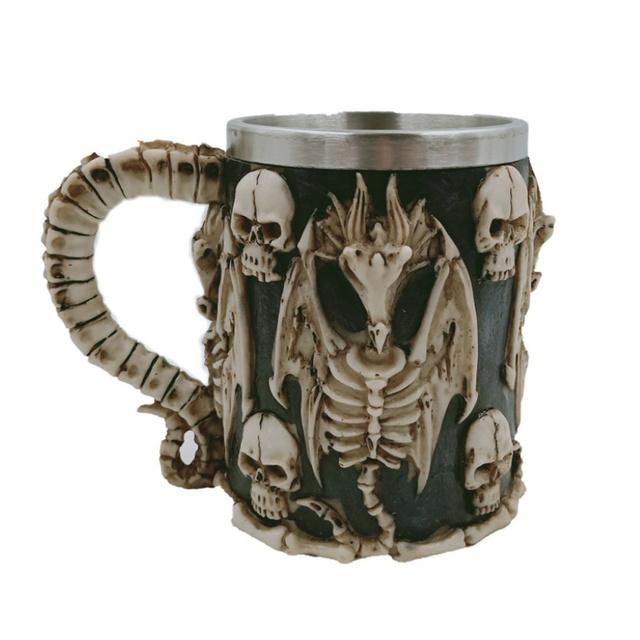 Skull Patterned Stainless Steel Beer Mug