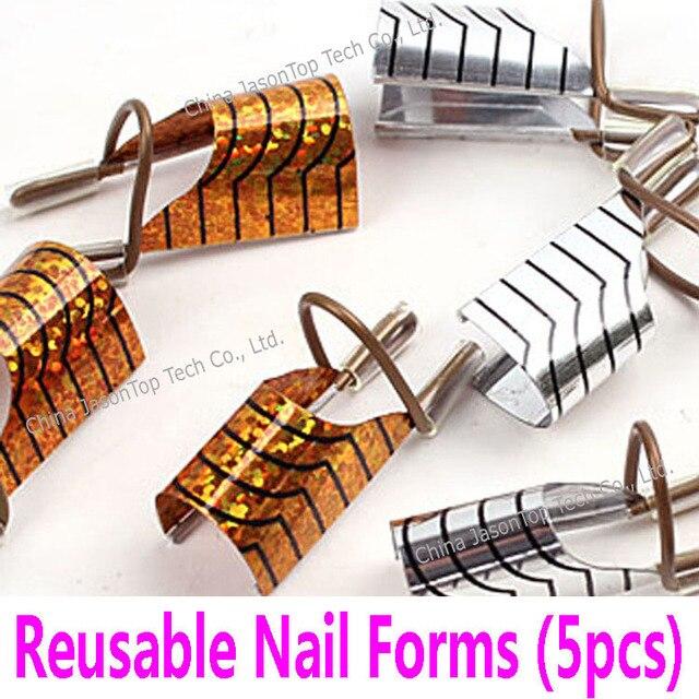 1 Set 5pcs Reusable Nail Form Acrylic Forms Aluminum Extending Tools Gel