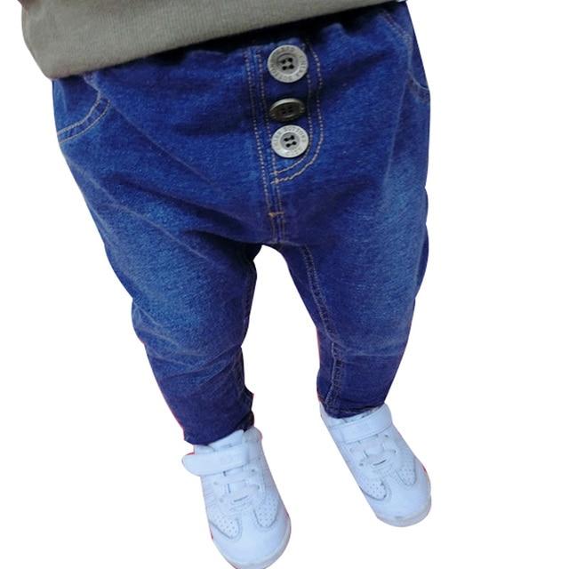 2015 весна и Осень мальчиков джинсы шаровары Хорошее качество Корейский стиль мешковатые джинсы дети джинсы случайные брюки 0-3 год