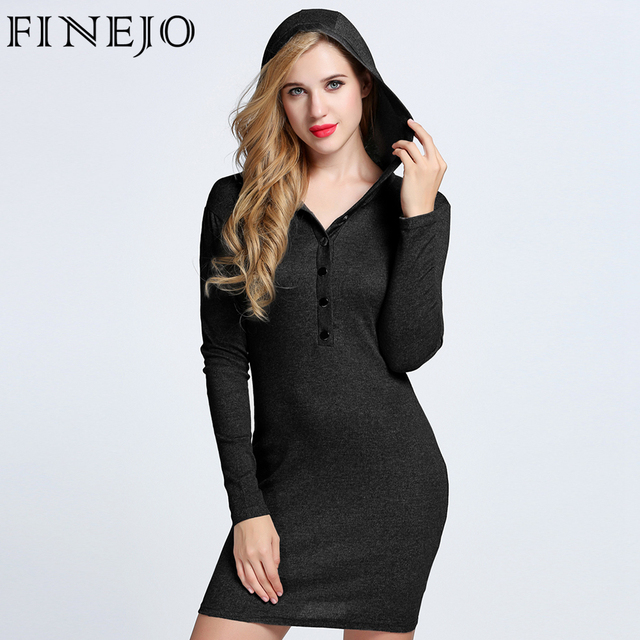 FINEJO 2017 Autumn Sexy Hooded Long Sleeve Dress V Neck Bodycon Cotton Fit Button Solid Casual Party Pencil Dress Plus Size 3XL