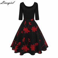 Women Vintage Dress Print Retro Robe Half Sleeve Audrey Hepburn 50s Swing Elegant Party Spring Autumn