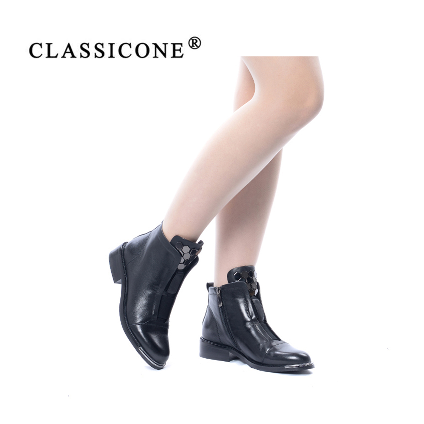 Women Shoes Woman Ankle Boots Spring Autumn Genuine Leather Flats With Fashion Brand Decoration Handmade Style Sexy CLASSICONE