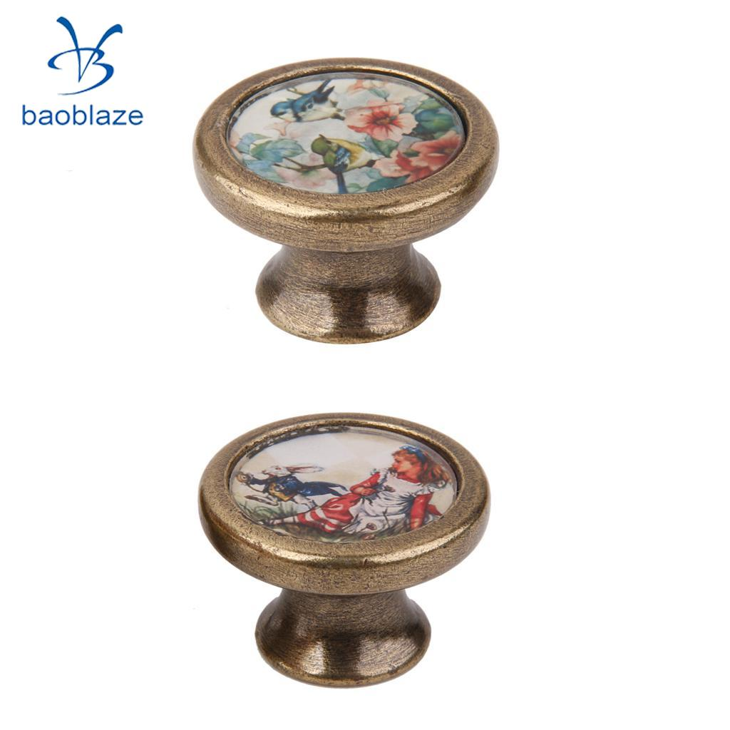 2 Pieces Vintage Retro Brass Round Cabinet Door Drawer Closet Dresser Pulls Handle Knobs with Screws Rabbit Girl + Birds Flower свитшот print bar flower birds