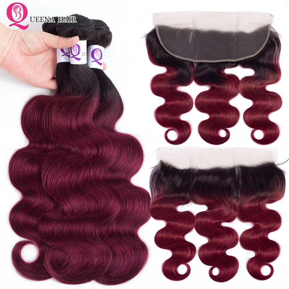 Ombre 1B Burgundy Brazilian Body Wave Bundles With Frontal Closure Queena Remy Brazilian Human Hair Bundles With Closure Frontal