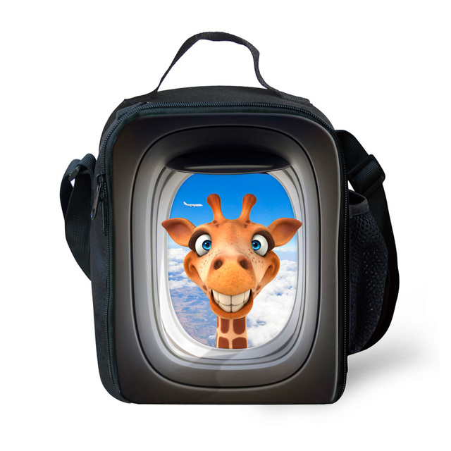 Fashion black 3d insulated lunch bag men's high quality animal lunch bags for boys cute giraffe thermal lunch box bolsa termica