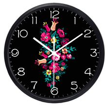 Brief Flower Wall Clock for Living Room Noble and Refined Women Lady Office Clock