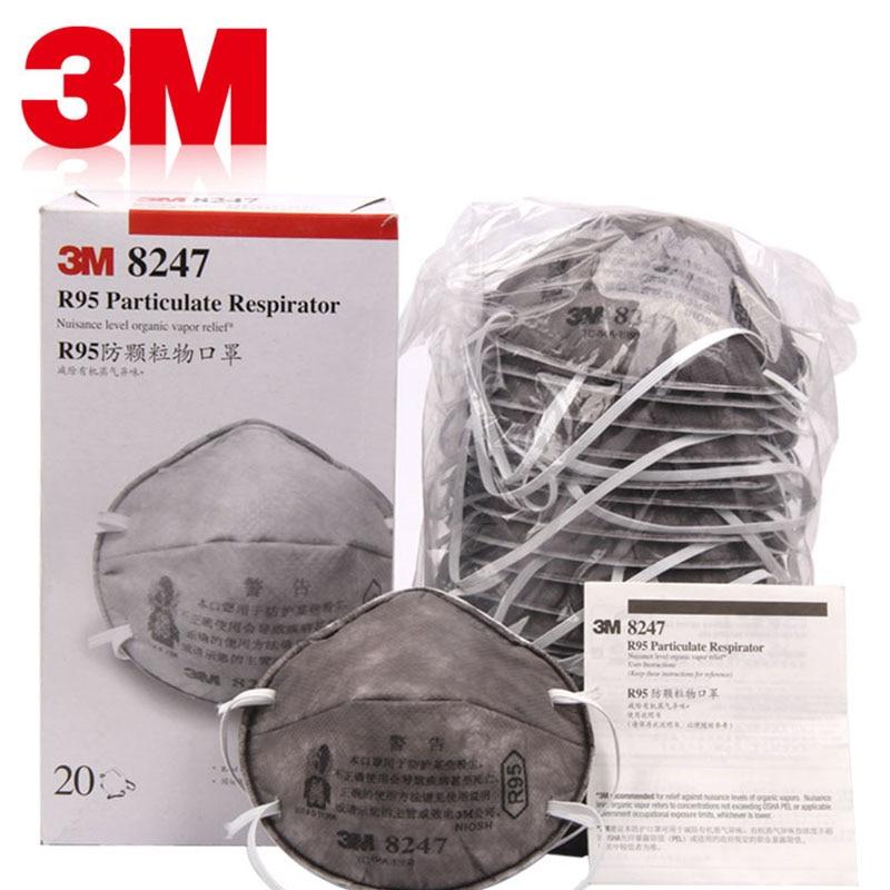 3M 8247 Protective Mask 20pcs Box Against Formaldehyde PM2 5 Fog Mask R95 Activated Carbon Masks