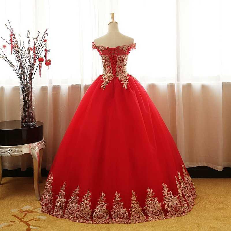 Ruthshen bola vestido de ouro apliques quinceanera vestidos preto vermelho fora do ombro vestidos de 15 doce dezesseis debutante vestido