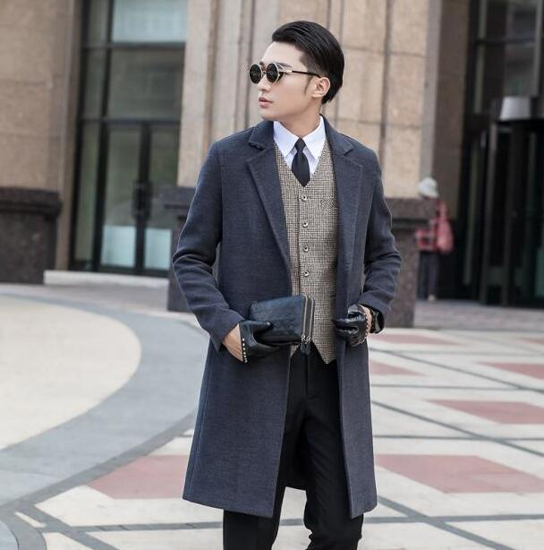 57fab9ac6bcc6 Grey long sleeve suit collar wool coat men jackets and coats mens slim wool  No buttons winter trench coats outerwear S 9XL-in Wool   Blends from Men s  ...