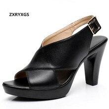 Новинка года; элегантная Летняя обувь с открытым носком; женские сандалии из телячьей кожи; босоножки на высоком толстом каблуке; большие размеры; женская обувь; сандалии