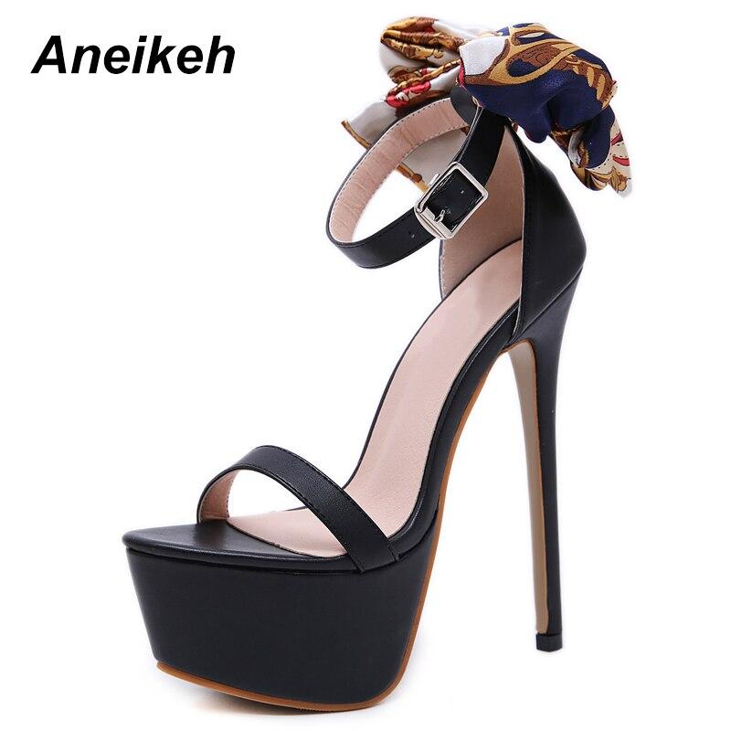7f87a179ec53f Ouvert forme Sexy Femme Talons Haute Cm Noir noeud Aneikeh D été 16 Pour Sandales  Femmes ...