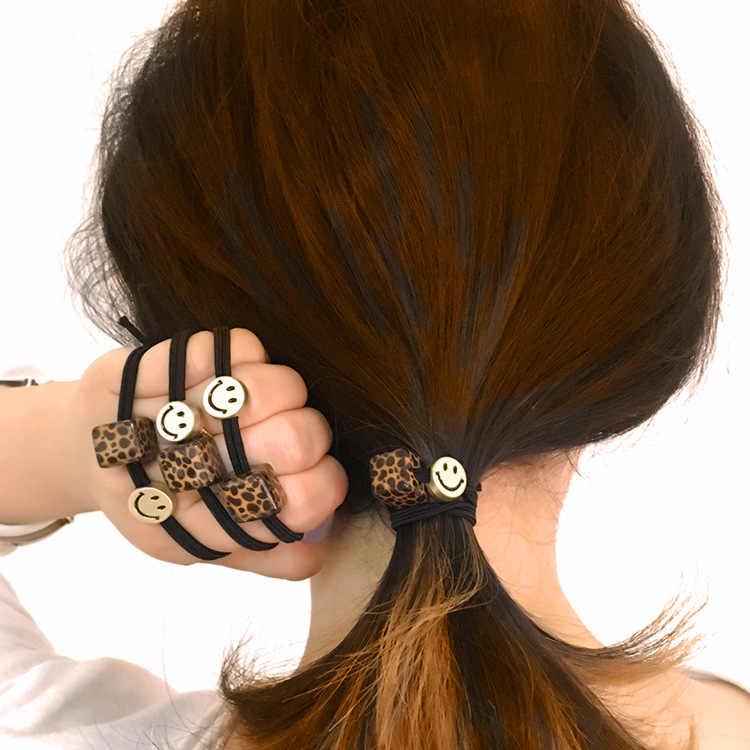 popular Leopard print hair ring adult headdress bracelet dual-purpose simple hair Pearl head rope rubber band female Korea