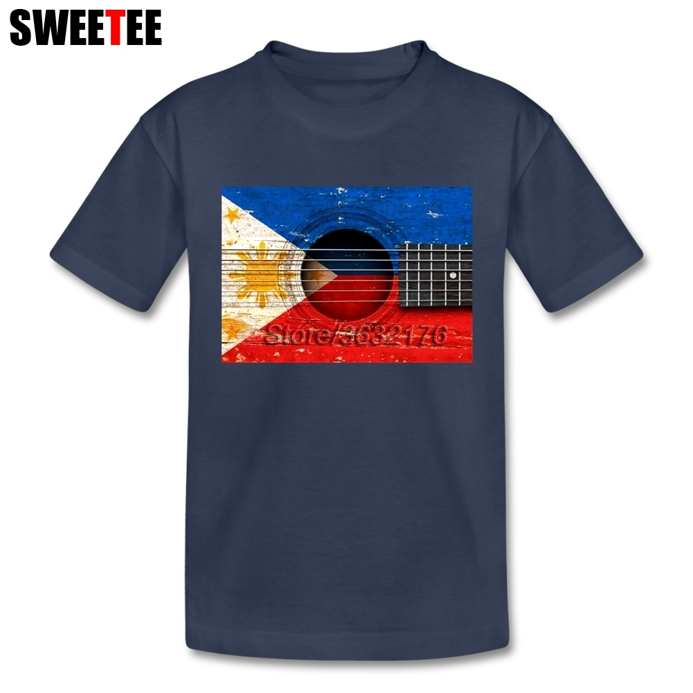 Old Vintage Acoustic Guitar with Filipino Flag tshirts girl Short Sleeve T-Shirt Son Funny Shirts Top Clothing For Boys Girls