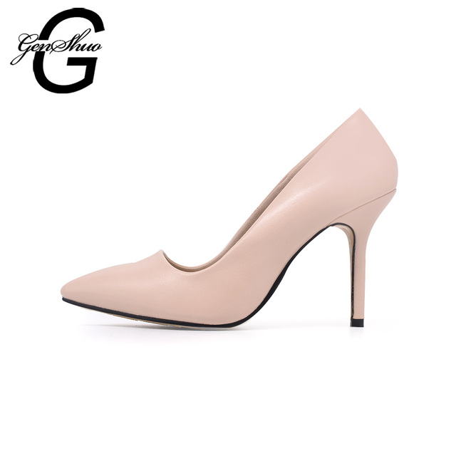 GENSHUO Genuine Leather High Heels Shoes Women Pumps Pointed Toe Thin High Heels Luxury Shoes for Office Work Small Size 32 33