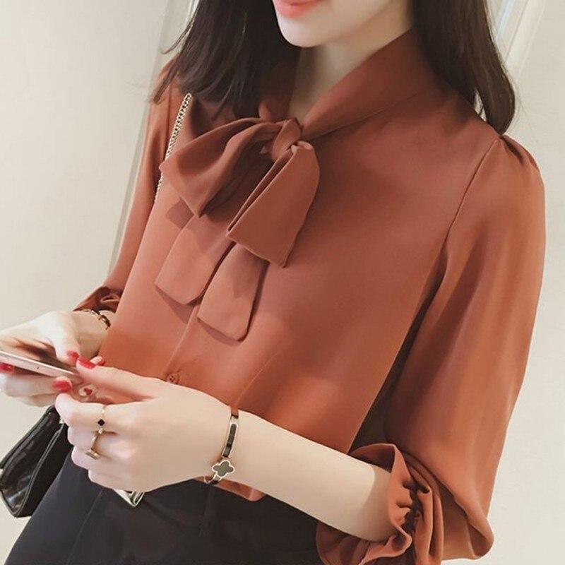 Arco Moda Manga Las De La c k Elegante Ropa W Plus Gasa Larga Dama Camisa Oficina Señoras Slim Blusa Mujeres Tamaño PqPwfB
