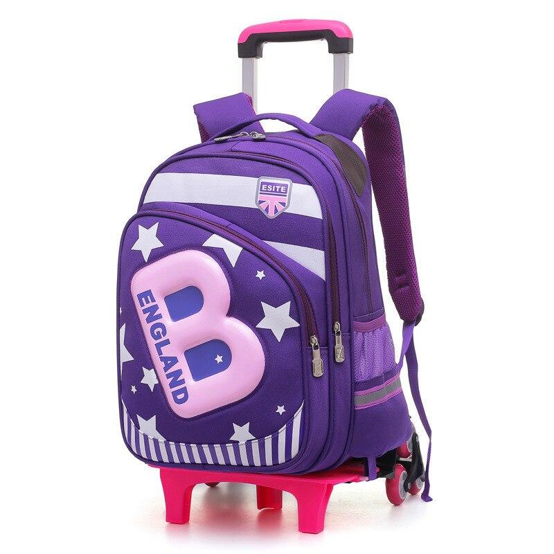 Enfants 2/6 roues amovible Trolley sac à dos sacs à roulettes enfants sac d'école garçons sacs de voyage sacs à dos d'école pour enfants mochila-in Sacs d'école from Baggages et sacs    3