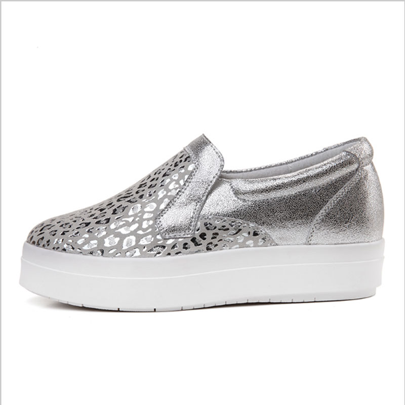 72f04fe54b14 FONIRRA Women Sneakers Platform Flats Loafers Shoes Bling Leopard Leather  Slip on Casual White Sole Ladies Shoes silvery 120-in Women's Flats from  Shoes on ...