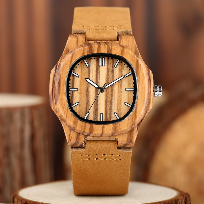 Image 5 - 2020 New arrivals Wood Watch Natural Light Wooden Face Fashion Genuine Leather Bangle Unisex Gifts for Men Women Reloj de maderagifts for mengift giftsgifts for women -