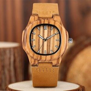 Image 5 - 2020 recém chegados relógio de madeira natural luz rosto de madeira moda pulseira couro genuíno unissex presentes para mulheres masculinas reloj madera