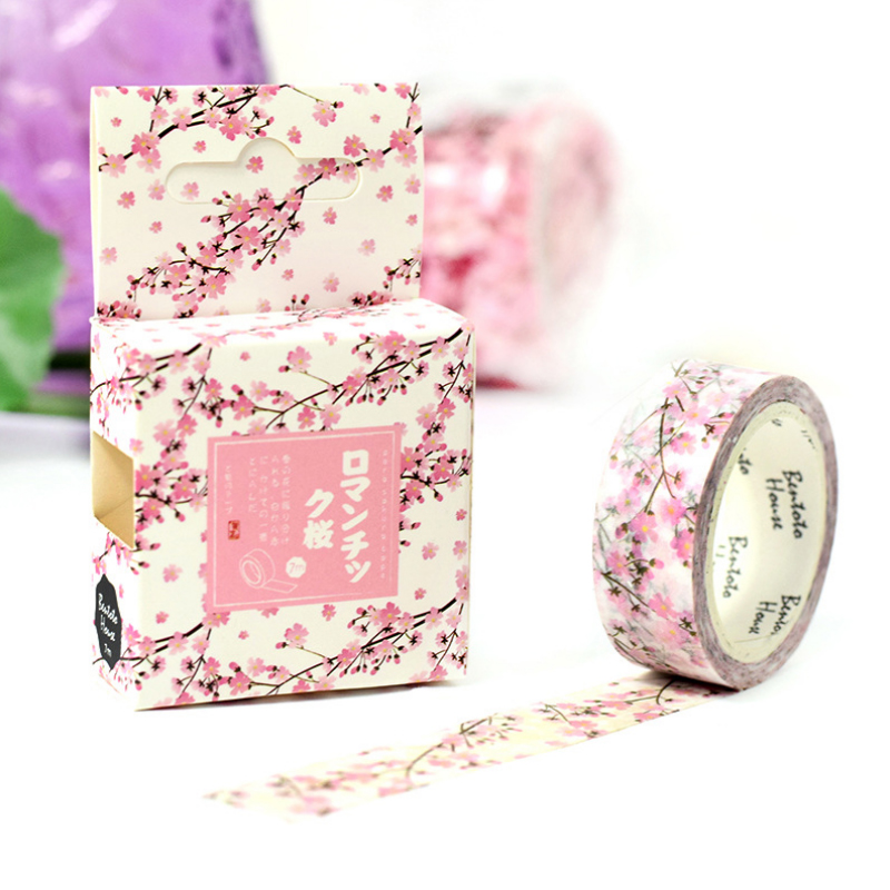 1.5*7M Romantic Sakura washi tape DIY decorative scrapbooking masking tape adhesive label sticker tape stationery