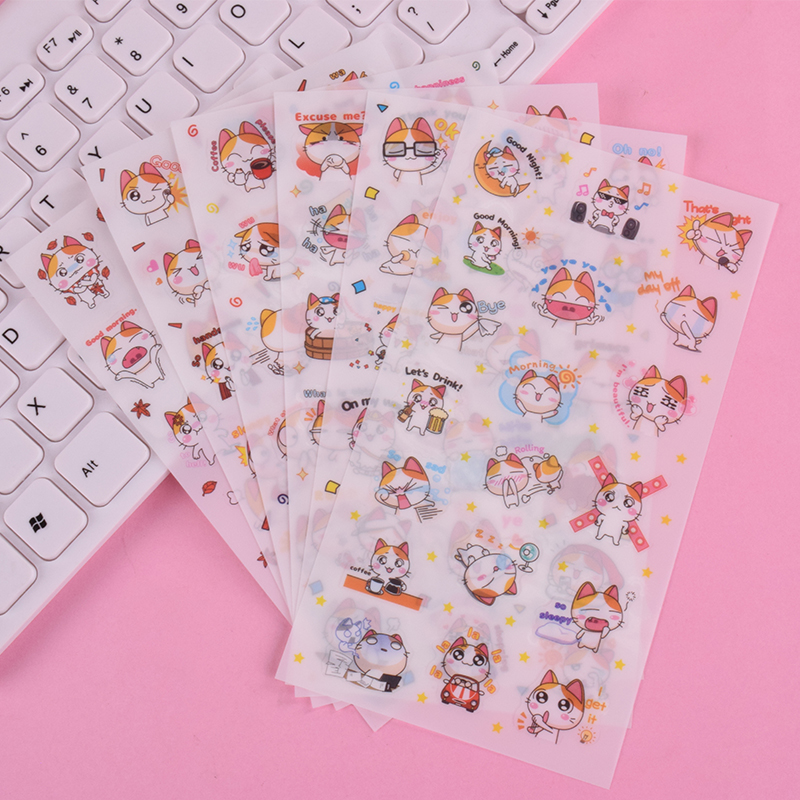6 Pcs/Bag New Cute Animal Cat Pet Paper Sticker Diy Decoration Sticker For Album Scrapbooking Kawaii Stationery Paste Papelaria