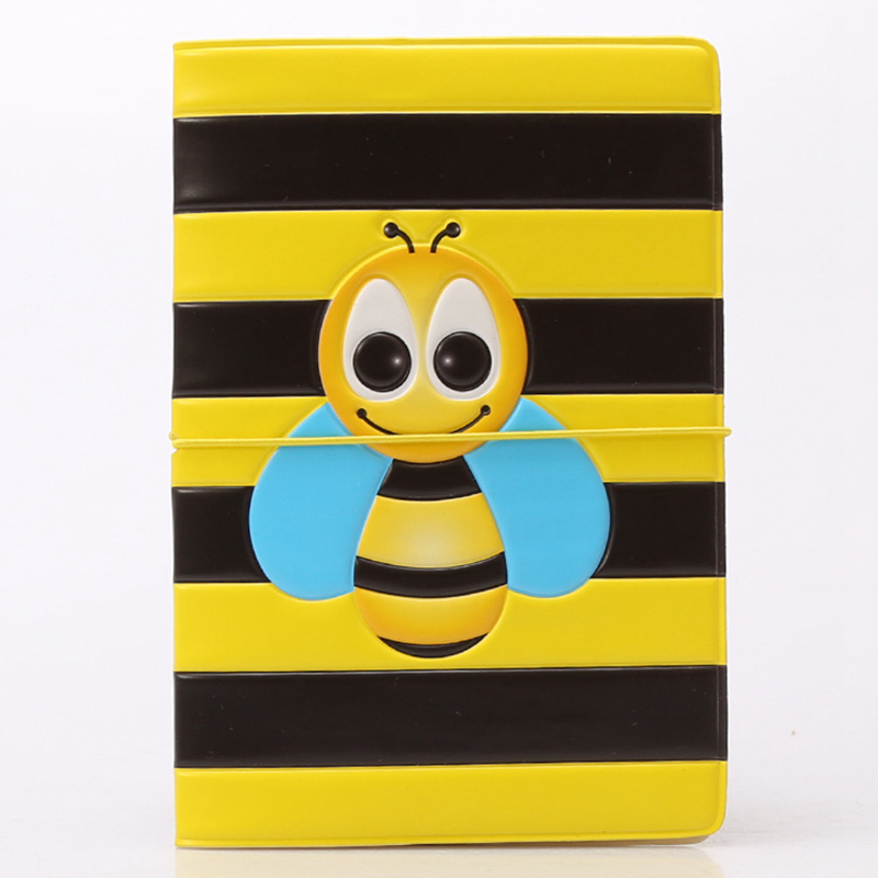 Cute Cartoon Bee Yellow Passport Cover Wallet Bag Travel Accessories Women PU Leather ID Address Holder Portable Boarding Cover