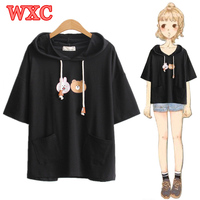 Summer T shirts Kawaii Cute Bunny Bear Pockets Hoody Shirt Lolita Mori Girls Short Sleeve Casual Tops Tee Harajuku Teen Tees WXC