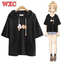 Summer T shirts Kawaii Cute Bunny Bear Pockets Hoody Shirt Lolita Mori Girls Short Sleeve Casual Tops Tee Harajuku Teen Tees WXC