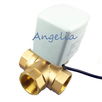 """AC220V CR03 G1-1/2"""" DN40 Brass 3 Way 3 wires Motorized Ball Valve L Type Electrical Actuator Valve"""