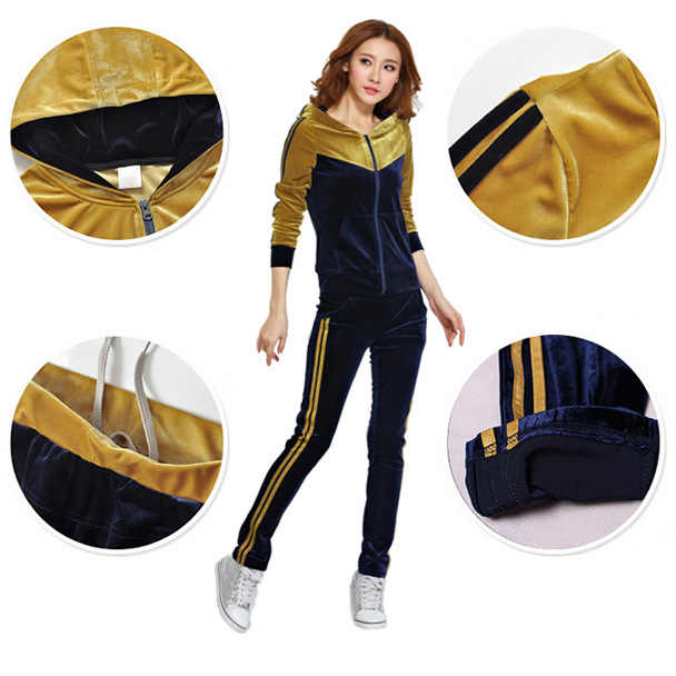 1c4269c7 ... Autumn Womens Gold Velvet Leisure Suit Clothing Set Casual Patchwork Velour  Hoodies + Pants Sportswear Tracksuit