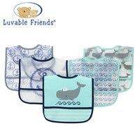 Baby Bibs PEVA Waterproof Saliva Towel Scarf Lunch Boys Girls Cartoon Infant Bibs Burp Cloths 5pieces