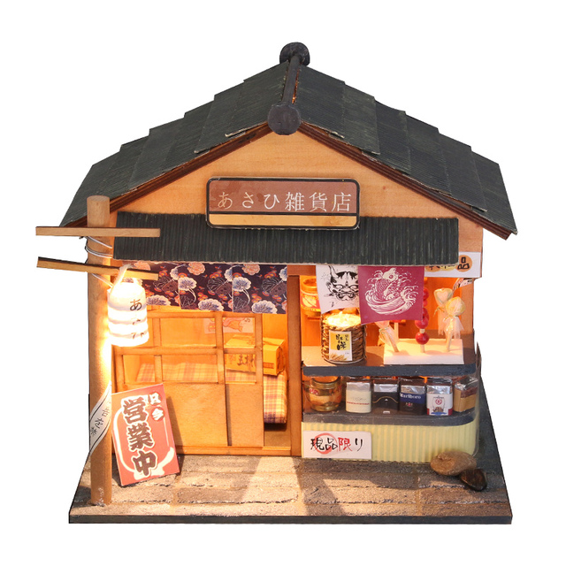 Doll House Furniture Diy Miniature Dust Cover 3D Wooden Miniaturas Dollhouse Toys for Christmas -Chaoyang grocery store D035