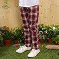 Kamiwa 2017 Niñas Pantalones Jeans Leggings Bolsillos Lavados Plaid Niños Primavera Y Otoño Ropa Casual de Algodón Embroma la Ropa