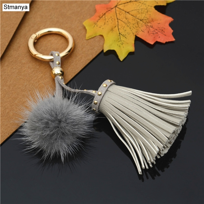 New High Quality Tassels Pendant Women Key Chain Mink Wool Ball Bag Charm Accessories Keychain New Gift Car Key Ring K1782