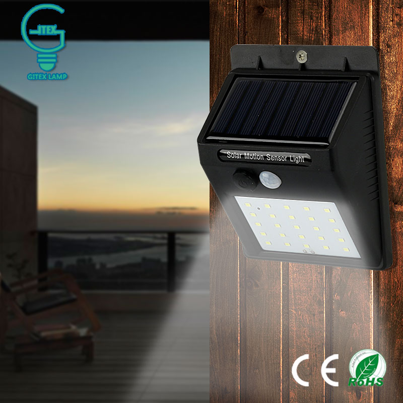 Gitex Outdoor Solar Lamp Waterproof PIR Motion Sensor Wall Light 6/25 LED Solar Power Light Energy Saving Garden Security Lamp