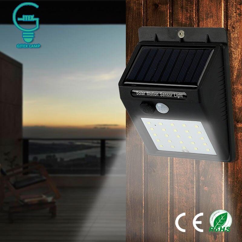 Gitex Outdoor Solar Lamp Waterproof PIR Motion Sensor Wall Light 6/25 LED Solar Power Light Energy Saving Garden Security Lamp